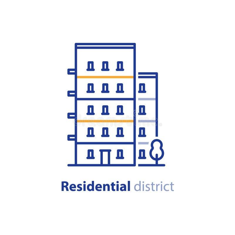 Conceito do distrito residencial, promoção imobiliária, prédio de apartamentos ilustração royalty free