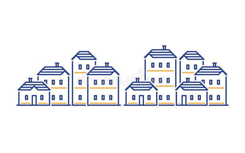 Conceito do distrito residencial, promoção imobiliária, prédio de apartamentos ilustração stock