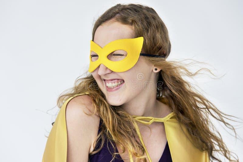 Conceito do divertimento do traje do super-herói fotos de stock