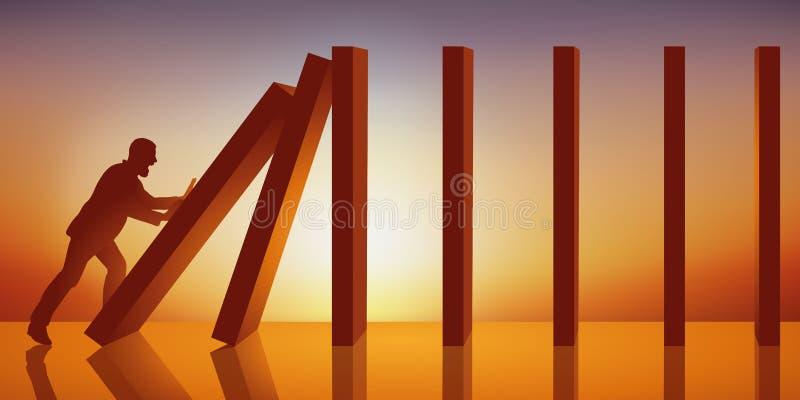 Conceito do efeito de dominó com um homem que faz a colapso uma corrente dos painéis levantados no arquivo indiano ilustração stock