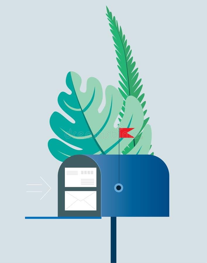 Conceito do email Caixa postal com os envelopes cercados por folhas de palmeira verdes Ilustração do vetor Objetos em um fundo tr ilustração do vetor