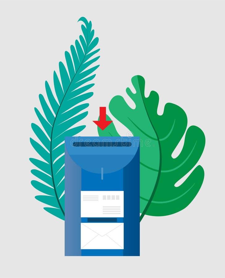Conceito do email Caixa postal com os envelopes cercados por folhas de palmeira verdes Ilustração do vetor Objetos em um fundo tr ilustração stock