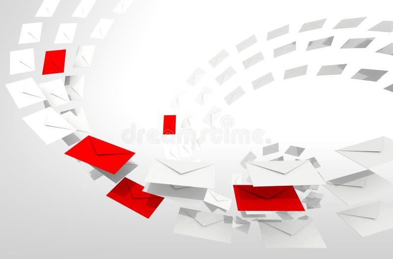 Conceito do email do Spam com córrego dos envelopes ilustração stock