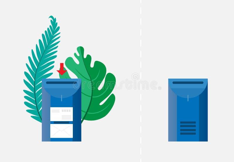 Conceito do email Dois caixas postais, vazios e com os envelopes cercados por folhas de palmeira verdes Ilustração do vetor Objet ilustração stock