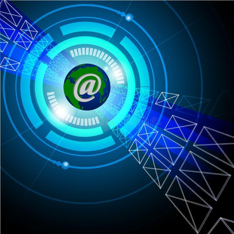 Conceito do email/Internet que mostra o globo e os envelopes ilustração stock