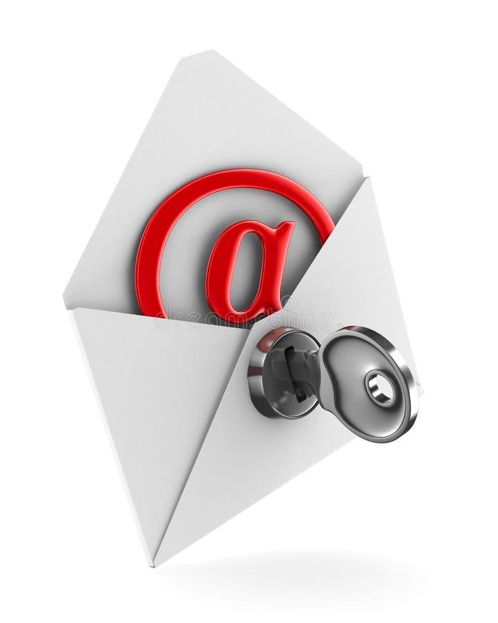 Conceito do email no fundo branco. 3D isolado ilustração stock