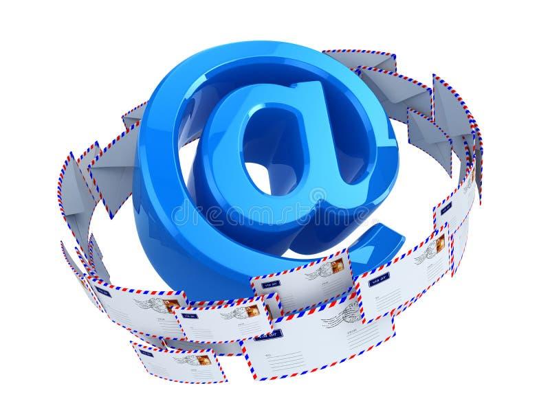 Conceito do email No símbolo e nos envelopes ilustração do vetor