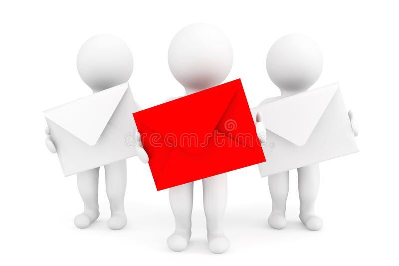 Conceito do email. pessoas 3d com envelopes ilustração do vetor
