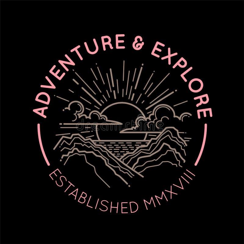 Conceito do emblema do logotipo da montanha ilustração do vetor