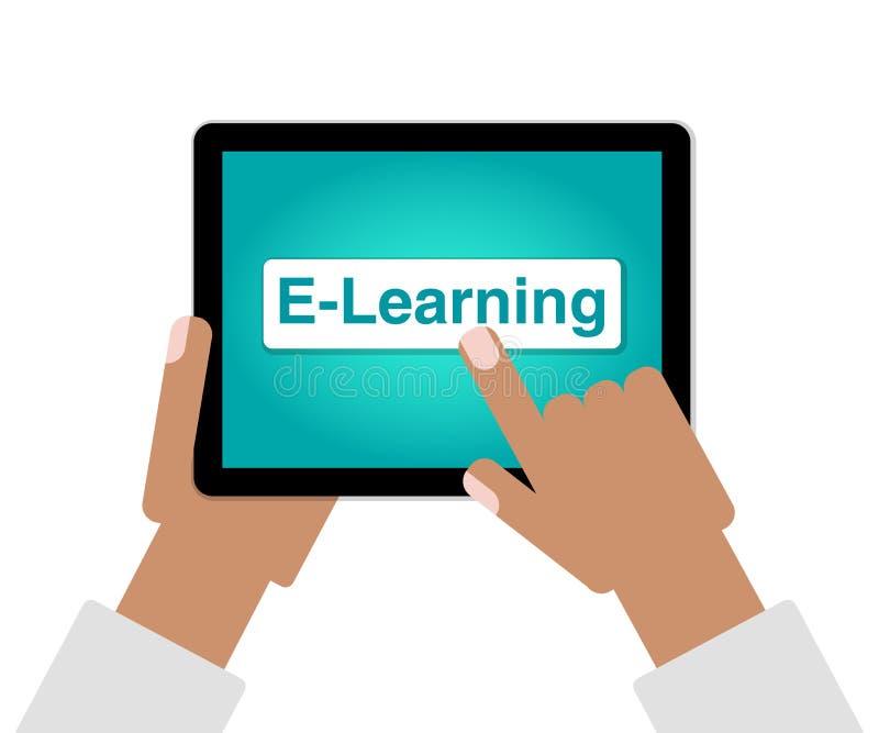 Conceito do ensino eletrónico como o dedo das mãos que escolhe a educação em linha no tablet pc ilustração royalty free