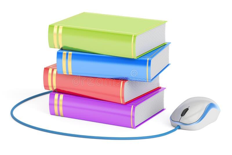 Conceito do ensino eletrónico, livros com rato do computador rendição 3d ilustração royalty free