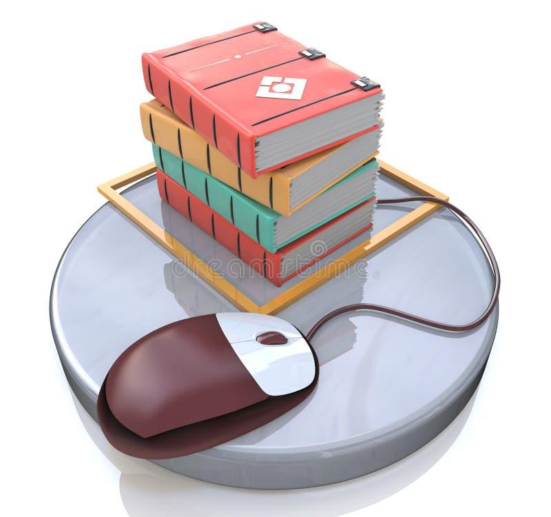 Conceito do ensino eletrónico: rato e livros do computador ilustração stock