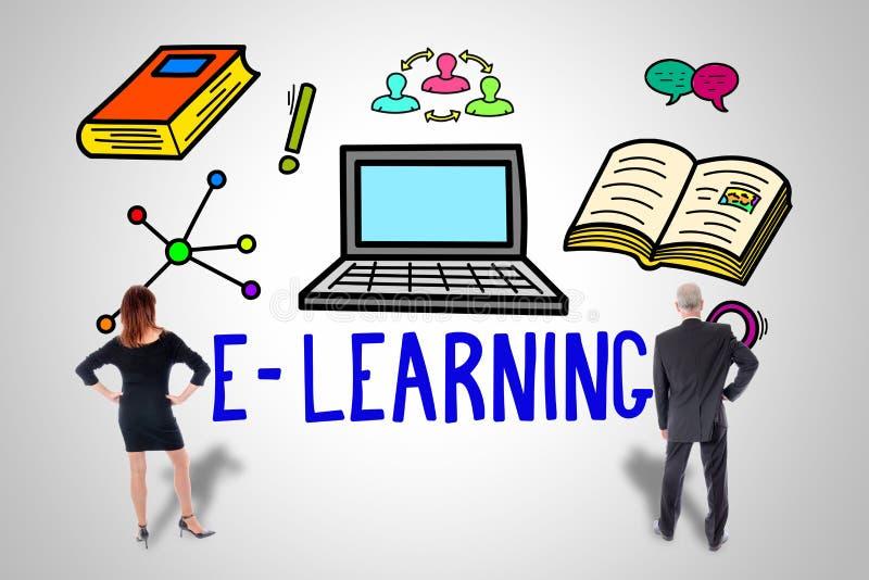 Conceito do ensino eletr?nico olhado por executivos ilustração stock