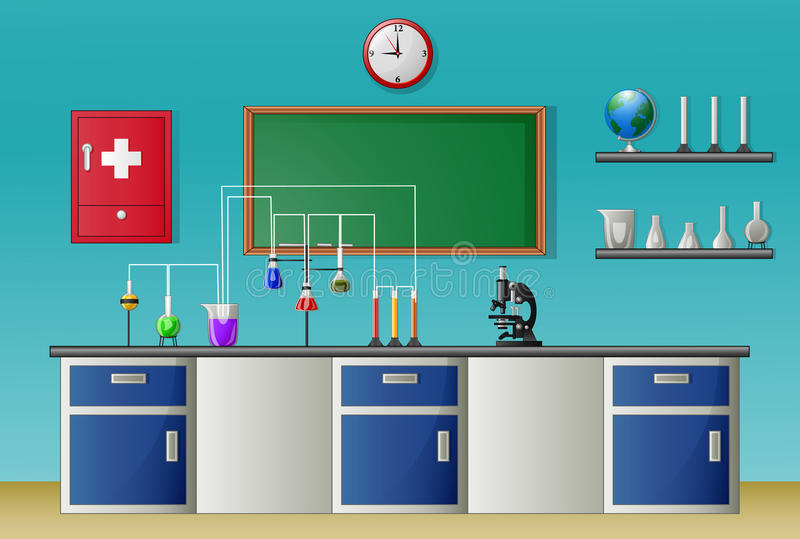 Conceito do equipamento da classe e da ciência do laboratório de química ilustração stock