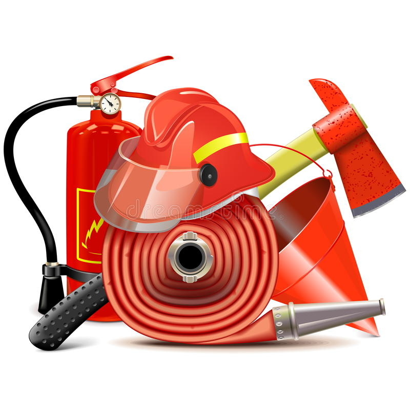 Conceito do equipamento da prevenção de incêndios do vetor ilustração do vetor