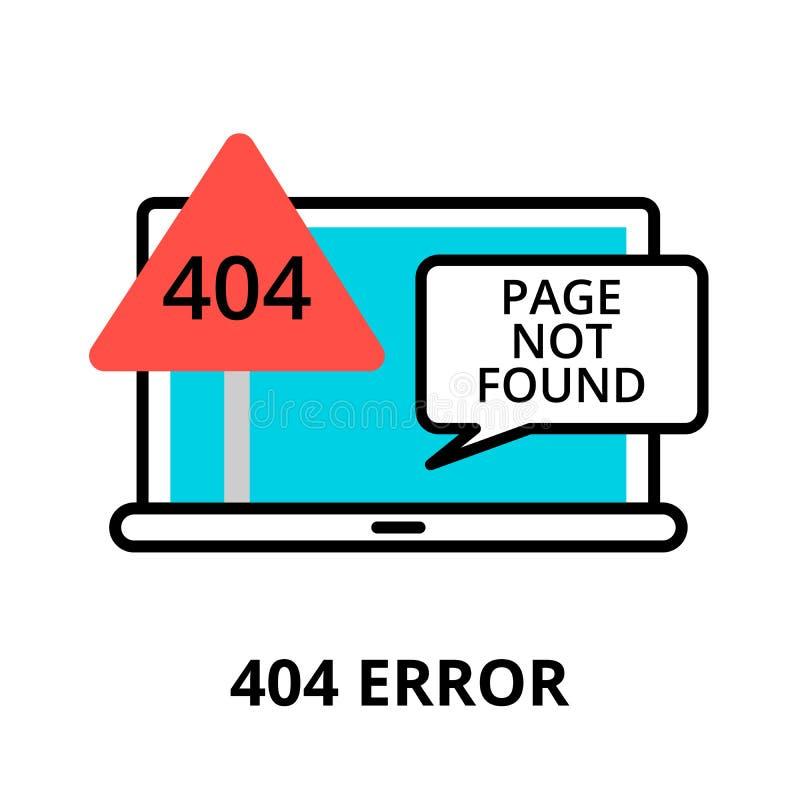 Conceito do erro 404 - ícone não encontrado da página ilustração do vetor