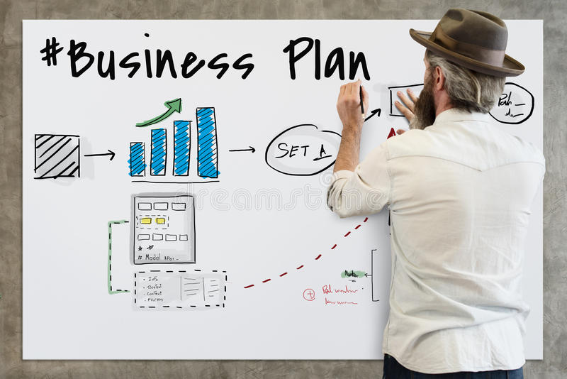 Conceito do esboço do desenho do fluxograma do plano de negócios fotos de stock