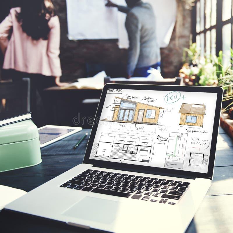Conceito do esboço do modelo de Floorplan da disposição da casa foto de stock
