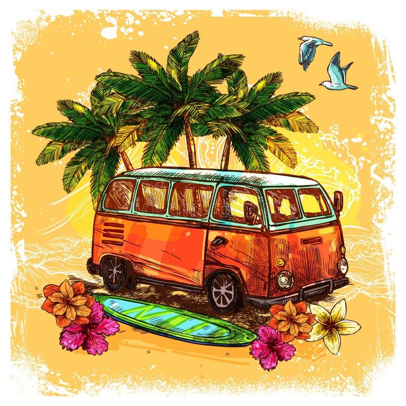 Conceito do esboço do ônibus da ressaca ilustração do vetor