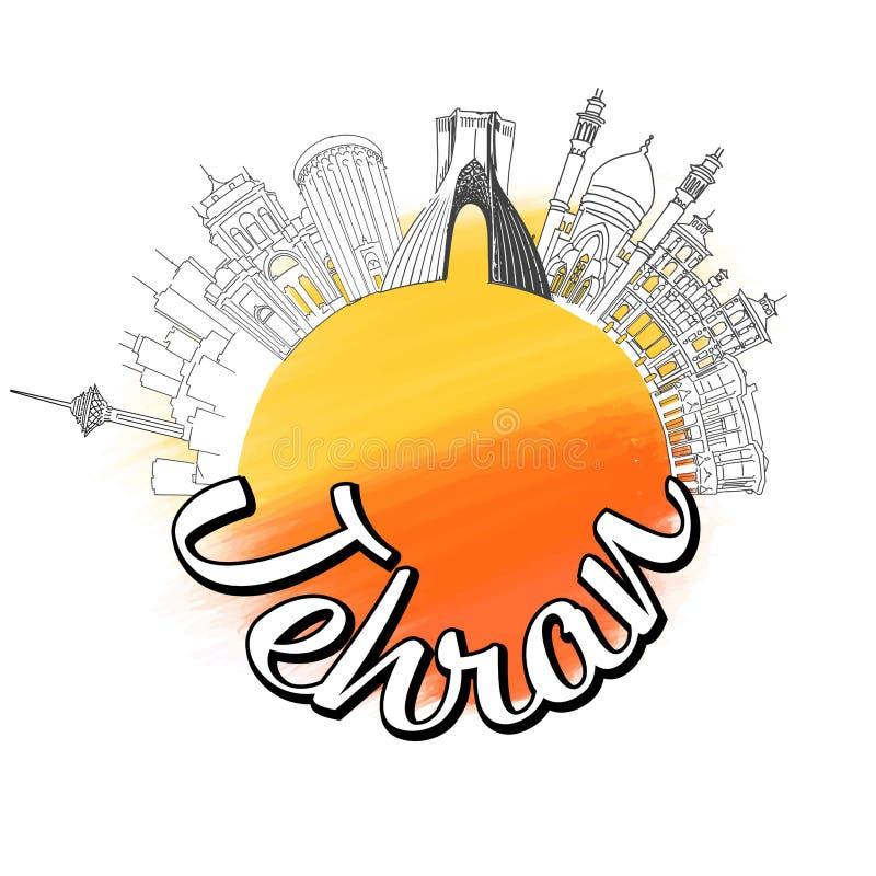 Conceito do esboço do logotipo do curso de Tehran ilustração do vetor