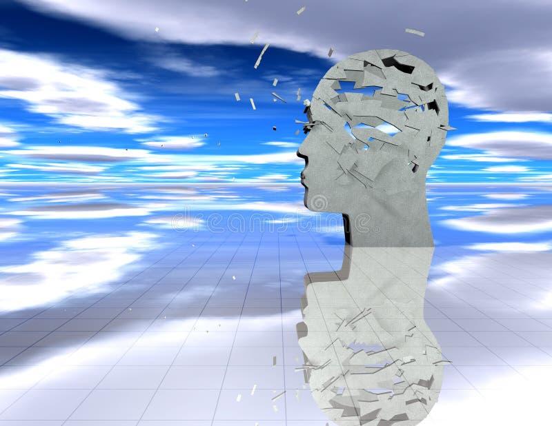 Conceito do esforço e das doenças mentais com a silhueta abstrata da cara quebrada ilustração do vetor