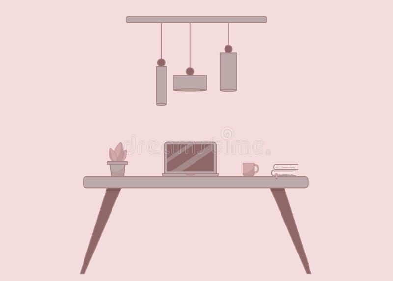Conceito do espaço de funcionamento de Minimalistic no estilo liso, vetor ilustração stock