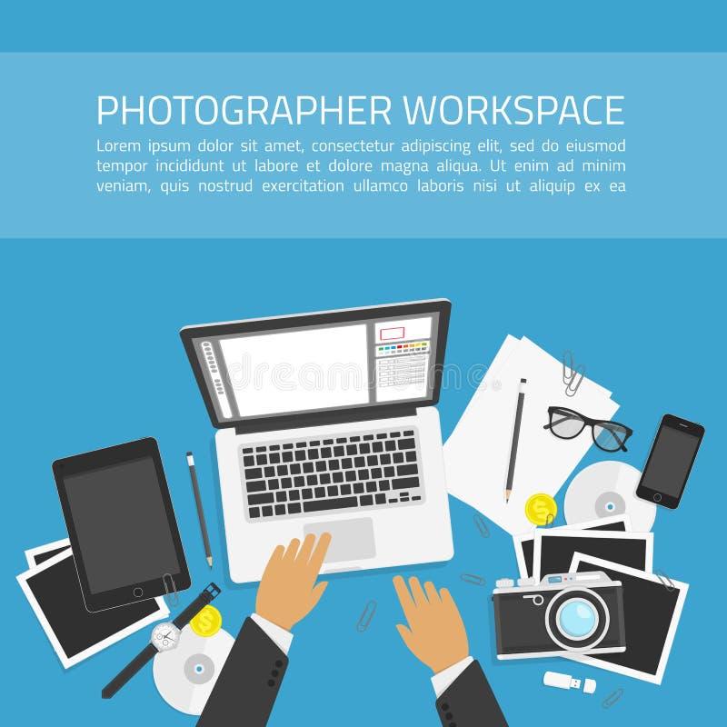 Conceito do espaço de trabalho do fotógrafo ilustração royalty free