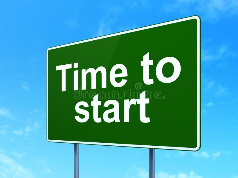 Conceito do espaço temporal: Hora de começar no fundo do sinal de estrada ilustração do vetor