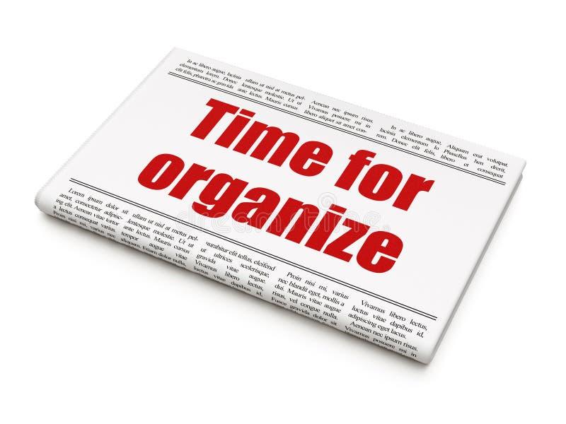 Conceito do espaço temporal: tempo do título de jornal para Organize ilustração stock