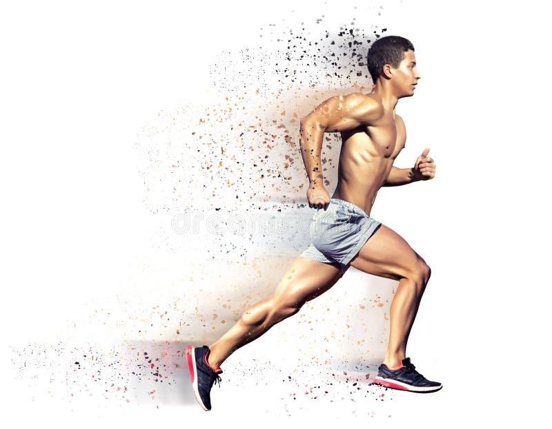 Conceito do esporte Homem do corredor Isolado no branco imagens de stock royalty free