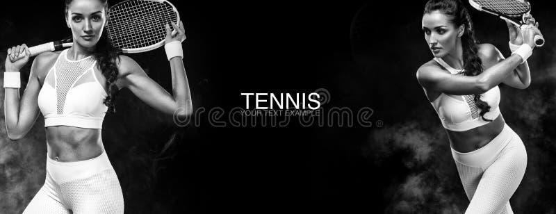 Conceito do esporte Ostenta o jogador de tênis da mulher com uma raquete Copie o espaço Pequim, foto preto e branco de China Cart imagens de stock royalty free