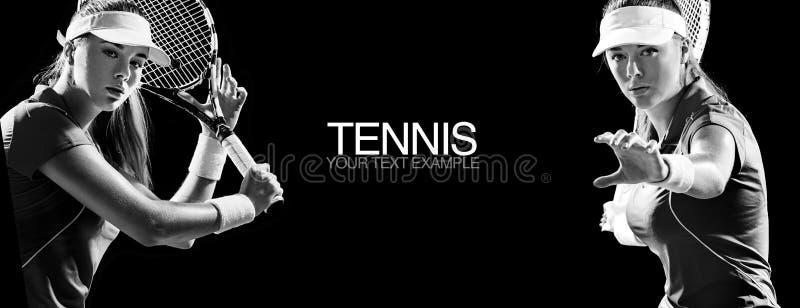Conceito do esporte Ostenta o jogador de tênis da mulher com uma raquete Copie o espaço Pequim, foto preto e branco de China Conc imagens de stock royalty free