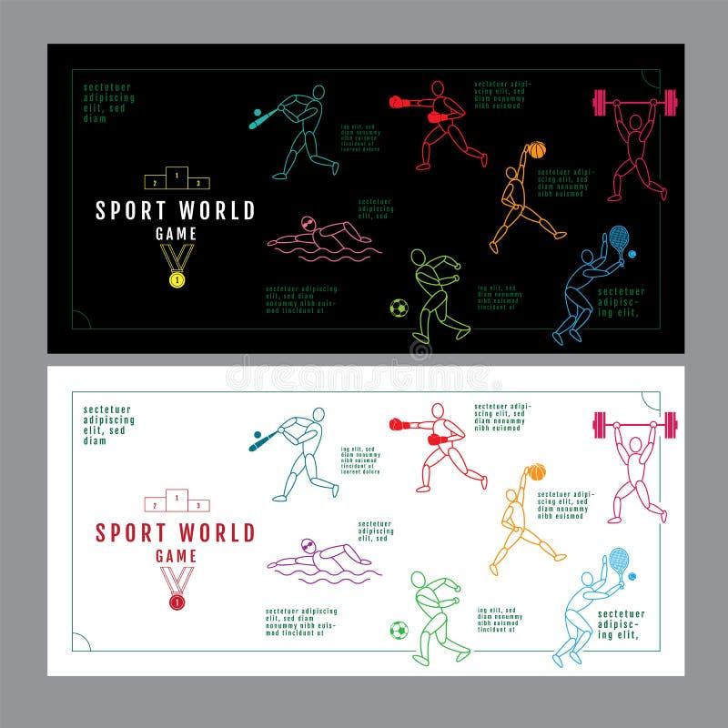 Conceito do esporte do projeto gráfico Fundo do material desportivo Vecto ilustração royalty free