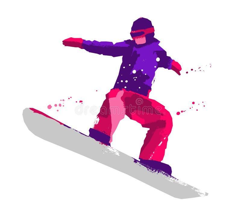 Conceito do esporte Silhueta de um snowboarder ilustração do vetor
