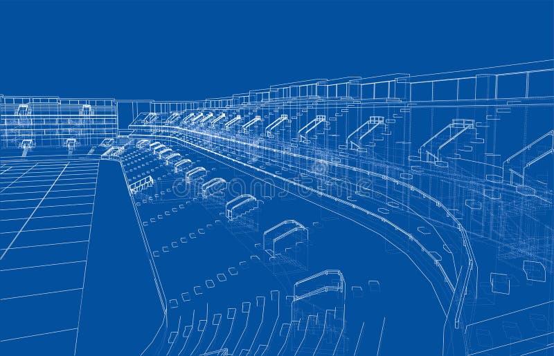 Conceito do estádio de futebol ou da arena do futebol Vetor ilustração do vetor