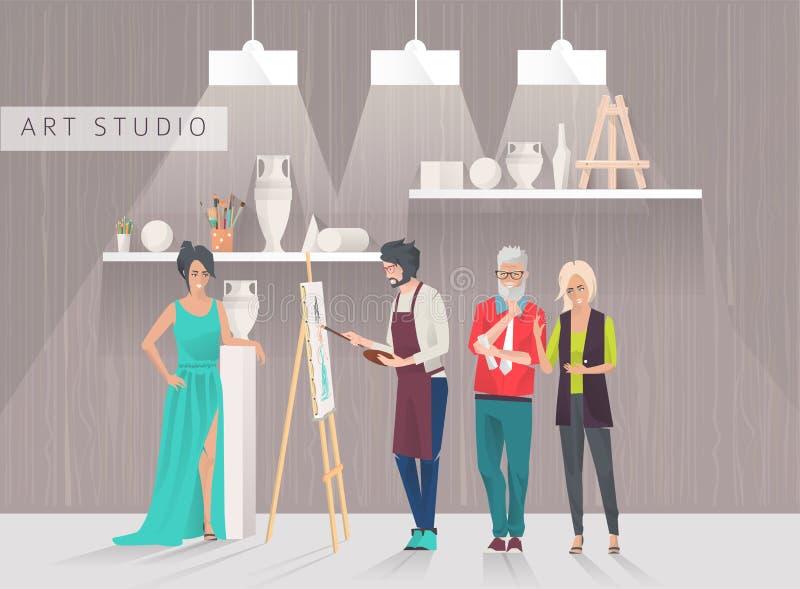 Conceito do estúdio da arte ilustração stock