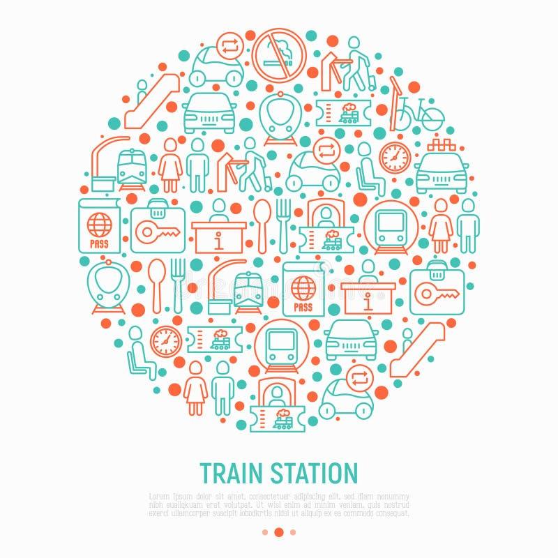 Conceito do esta??o de caminhos de ferro no c?rculo com linha fina ?cones: informa??o, bilheteira, toalete, t?xi, metro, sala de  ilustração stock