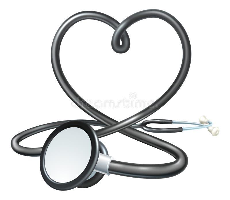 Conceito do estetoscópio do coração ilustração do vetor