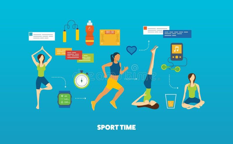 Conceito do estilo de vida saudável, da aptidão e da atividade física Classes da ioga ilustração royalty free