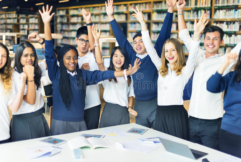 Conceito do estudo de Classmate Friends Understanding do estudante fotografia de stock