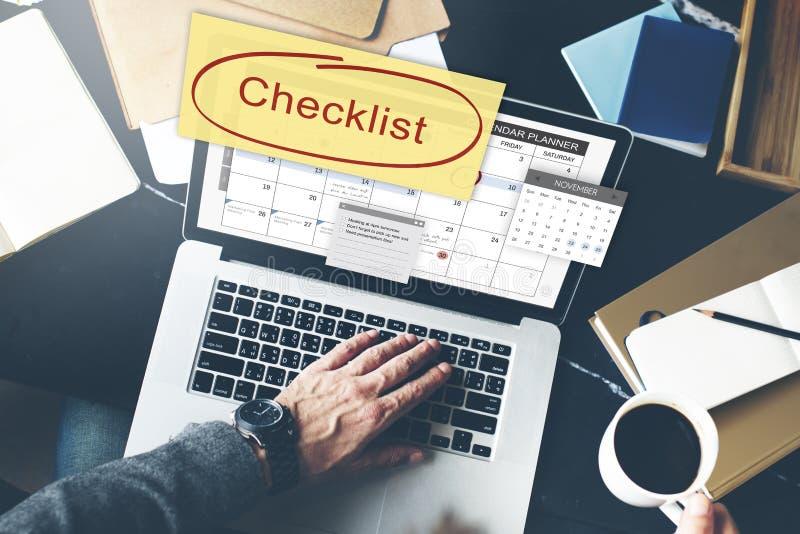 Conceito do evento da programação de nomeação da lista de verificação fotografia de stock