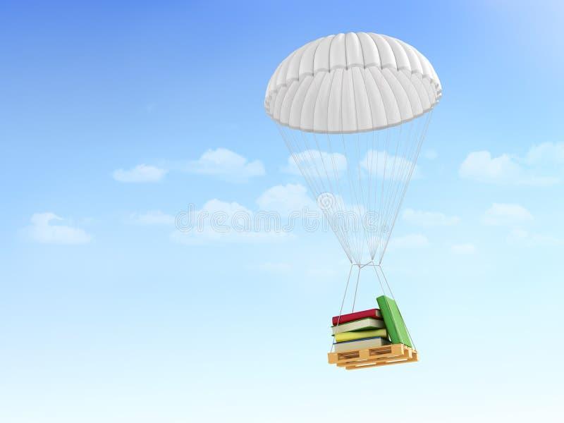 Conceito do FAQ rápido Informação da ajuda Livros na pálete, queda ilustração do vetor