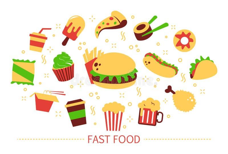 Conceito do fast food Bebida do Hamburger e da soda ilustração do vetor