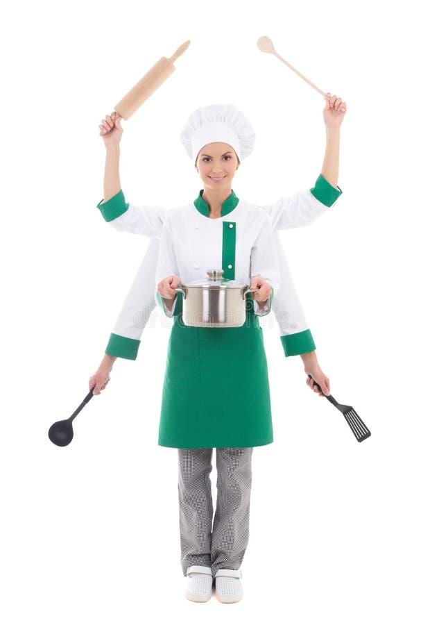 Conceito do fast food - mulher atrativa no uniforme do cozinheiro chefe com seis ha foto de stock royalty free