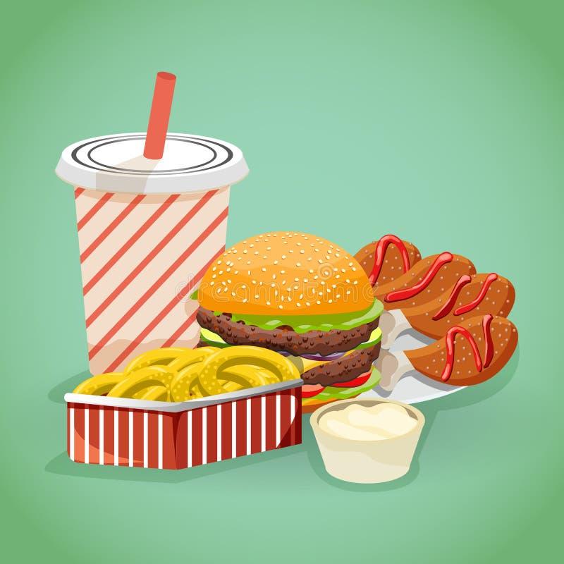 Conceito do fast food no estilo dos desenhos animados com hamburgueres, cola das microplaquetas e canelas da galinha ilustração stock