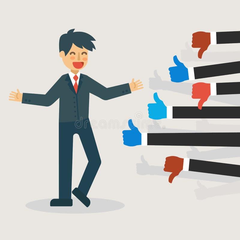 Conceito do feedback: Boa vinda do homem de negócios como e desagrado ilustração royalty free