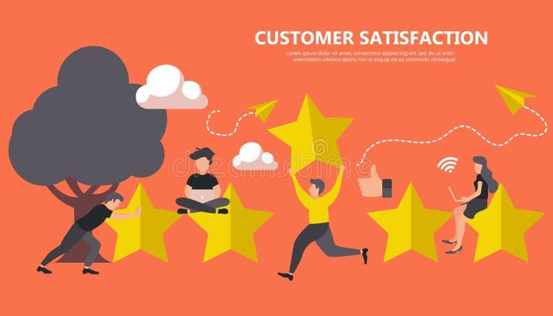 Conceito do feedback, das mensagens das homenagens e das notificações Avaliação na ilustração do serviço ao cliente ilustração royalty free