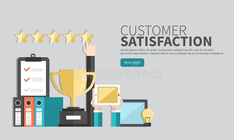 Conceito do feedback, das mensagens das homenagens e das notificações Avaliação na ilustração do serviço ao cliente ilustração stock