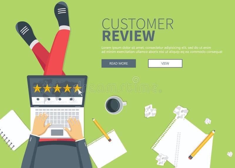 Conceito do feedback, das mensagens das homenagens e das notificações Avaliação na ilustração do serviço ao cliente ilustração do vetor