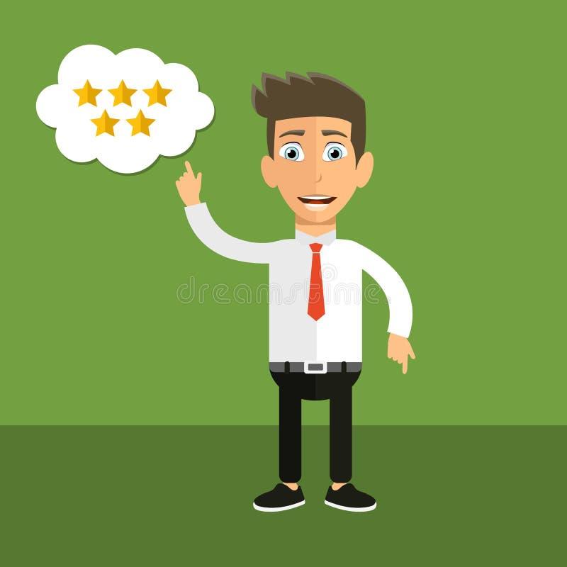 Conceito do feedback, das mensagens das homenagens e das notificações Avaliação na ilustração do serviço ao cliente Homem que apo ilustração do vetor